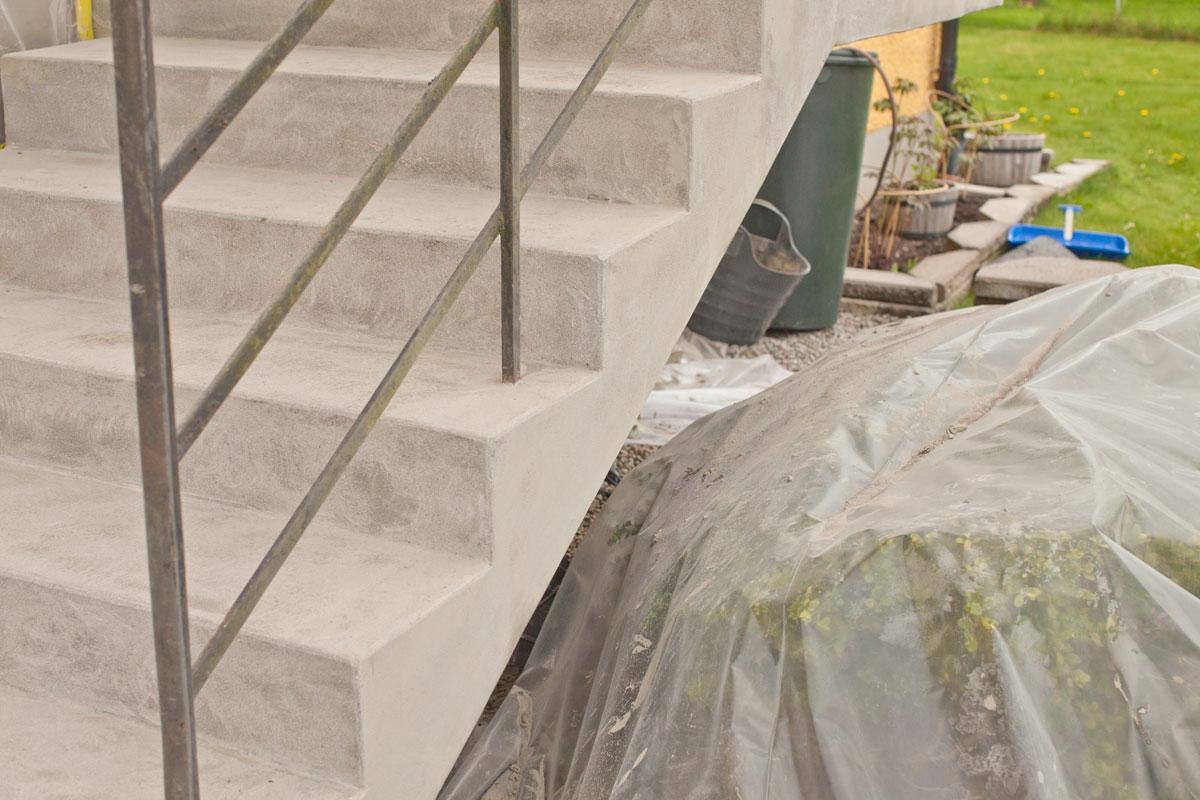 Slipad betongtrappa
